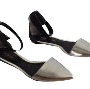 Enzo Angiolini ankle strap flats black silver sz 9